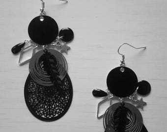 chic black and silver Stud Earrings