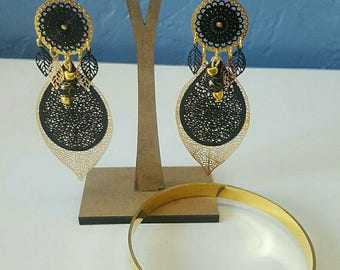 set black and gold bracelet and earrings