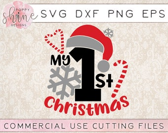 My 1st Christmas svg png eps dxf Cutting File for Cricut & Silhouette, Merry Christmas, First Holiday, Believe, Santa, Snowflake, Candy Cane