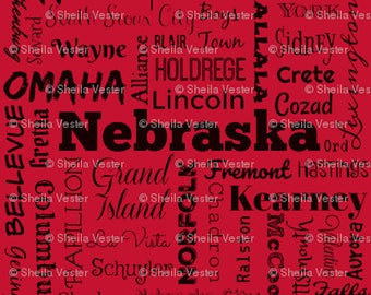 Nebraska Cities fabric - red and black - gray and black - by the yard