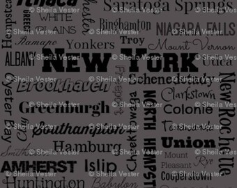 New York cities fabric - by the yard - gray and black - blue and black