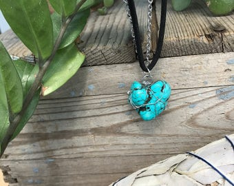 Bohemian, turquoise, suede and stainless steel chain necklace