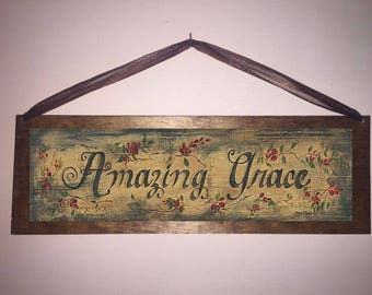 15x5 Amazing Grace Home Decor Wall Art Sign with Choice of  Black Wire or Brown Ribbon for Easy Hanging