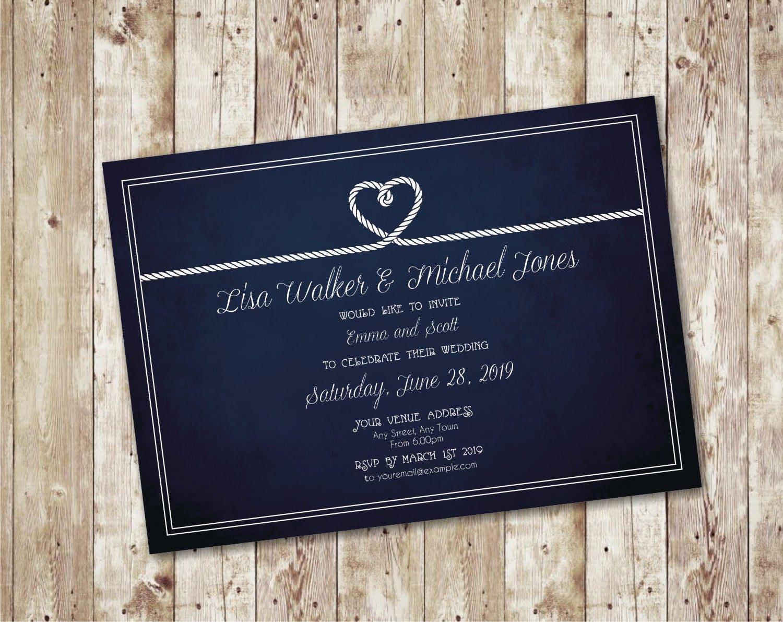 Wedding Invitation Printable / Nautical Rope Wedding Invite Wedding ...