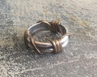 10% OFF ! Vintage sterling silver & 12k gold ring
