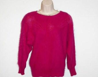 Vintage 1980's Fuchsia Angora Sweater ~ Frontier Pink Fuzzy BEADED Angora Sweater ~ Pink Sweater ~ Angora Sweater