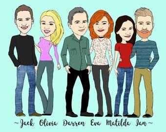 Cartoon Family Portrait, Custom Cartoon Illustration, Cartoon Family Art, Illustrated Portrait, Family Portrait Illustration, Digital File