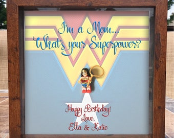 Customizable Wonder Woman Lego Shadowbox Frame. Whats your superpower? - Mother's Day- birthday- godfather -Wife- Grandma -godmother