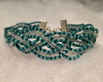 Blue and White Braided Bracelet