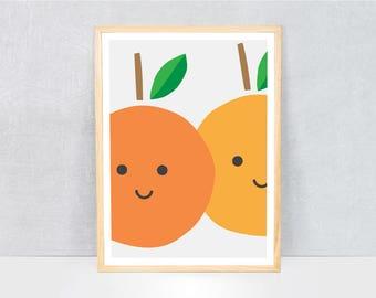 oranges print / kids art print / kids wall art / cute illustration / bright colours / kids poster print / fruit