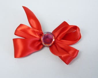 Red Satin Bow - Snap Clip