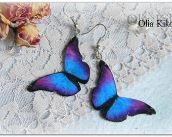 Bright butterfly earrings. Summer air butterflies.Mothers Day, St Patricks Day gift