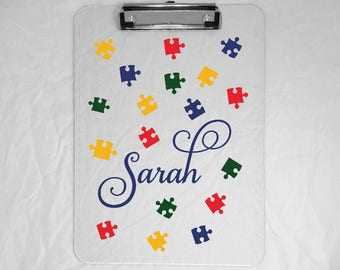 Personalized Puzzle Clipboard - Full Size Clipboard with Name - Teacher Gift - Nurse Gift - Coworker Gift- Teacher Clipboard - 9x12Clipboard