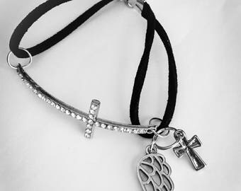 Cross spiritual Christian bling  bracelet on cording wrap for wrist.