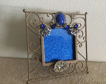 Vintage Metal Jeweled Bedazzled Picture Photo Frame in Blues and Gold