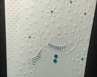 Cute set of 4 handmade blank embossed Christmas snowman note cards and envelopes