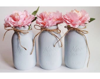 Gray Mason Jars, Gray Centerpieces, Gray Babyshower, Babyshower Ideas, Babyshower Decor