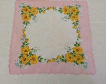 Vintage Handkerchief / California Poppies