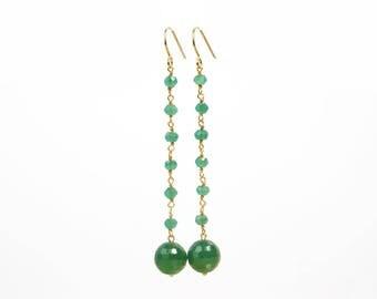 Fine gold, green Onyx Silver earrings