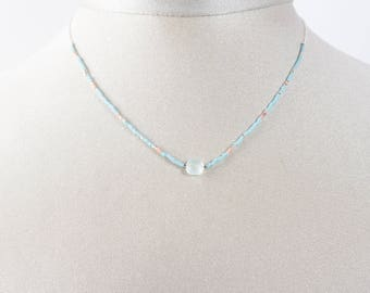 Aqua chalcedony and 925 sterling silver chain necklace