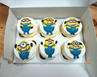 Minions cupcake toppers Edible handmade FONDANT 6 psc