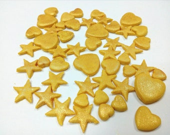 200 Gold hearts and stars cake decorations Edible fondant