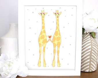 Giraffes with Flowers, 8x10 Childrens Wall Art, Printable, Baby Gift, Nursery Art, Kids Room Wall Art, Baby Shower Art, Baby Girl Gift
