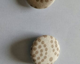 Set of 2 fabric buttons 27mm beige handmade and unique!