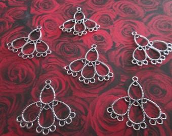 2 support chandelier Silver earrings