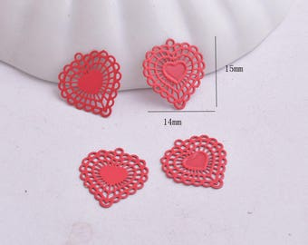 prints 4 / 15 x 14 mm red heart charms