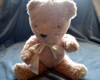 Vintage Pink Articulated Bear Musical Teddy Bear playing Rock a bye Baby