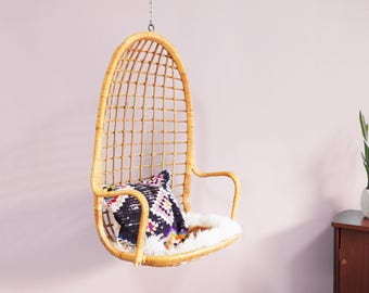 Vintage Hanging Rattan Chair / Mid Century Swing Chair