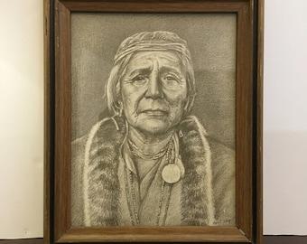 Native American Pencil Drawing Print / Framed Native American Print / American Indian Portrait