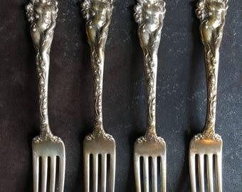 "4 Love Disarmed Reed & Barton Sterling Silver Luncheon Dessert Fork 7 1/8"""