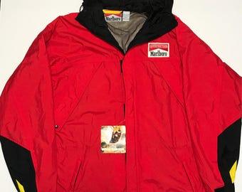 Vintage Deadstock Marlboro Adventure Team Red Parka Windbreaker Jacket Size Large