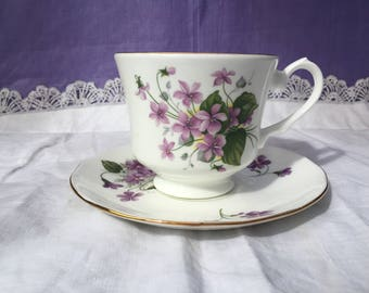 Duchess Bone China Teacup and Saucer Duo Pretty purple violets , gold trim