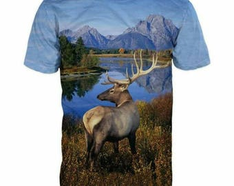 New ultramodern 3D  High Quality  Print Deer Real Nature short Sleeve t-shirt
