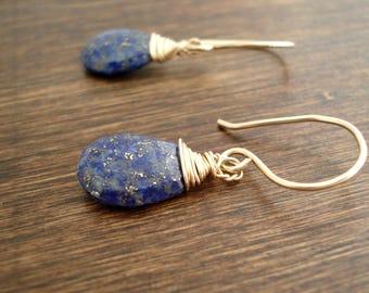 Lapis Lazuli Earrings in Gold, Bleu Gemstone Dangle Earrings, Boucles D'Oreille Lapis Lazuli, Pierres Semi-Précieuses