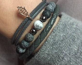Leather Hamsa bracelet