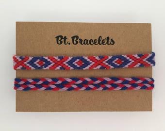 Set of two friendship bracelets straps blue/red/Purple 2.00