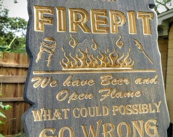 Carved Firepit Patio Sign
