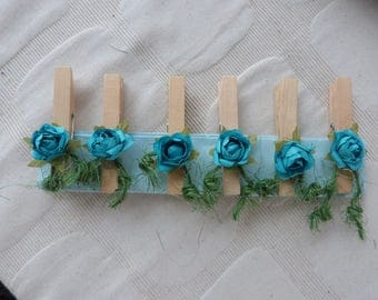 "The 6 ""blue roses"" decorative pins"