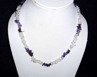 18 Inches New Arrival Natural Amethyst, Garnet & Crystal Chip Stone Necklace AAA Quality