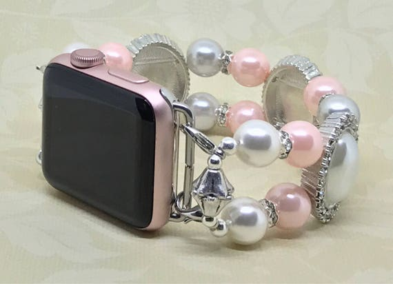 "Apple Watch Band, Women Bead Bracelet Watch Band, iWatch Strap, Apple Watch 38mm, 42mm, Faux Silver Swarovski Pink White Pearl 7 1/2""- 7 3/4"