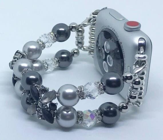 "Apple Watch Band*, Women Bead Bracelet Watch Band, iWatch Strap, Apple Watch 38mm, 42mm, Silver & Black Swarovski Pearl Size 6 1/4"""