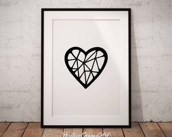 Geometric Heart, Geometric Heart Print, Geometric Heart Art, Printable Geometric Heart, Heart Wall Art, Geometric Heart Poster, Heart Decor