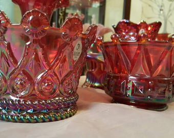 Fenton Ruby Red Carnival Crown Set