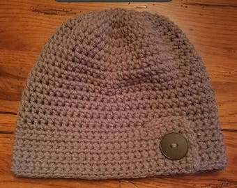 Handmade Crochet Macchiato Hat w/ Button