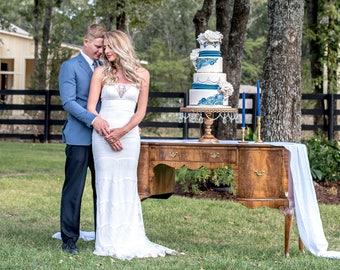 Lace Wedding Dress, Lace Spaghetti Strap Wedding Dress, Spaghetti Strap Mermaid Wedding Dress, Rustic Lace Mermaid Wedding Dress. #D15