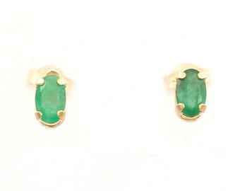 Emerald Earrings, 10K Gold (10ER226)